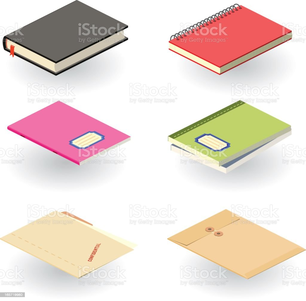 Set of six graphics of colored notebooks with shadows royalty-free stock vector art