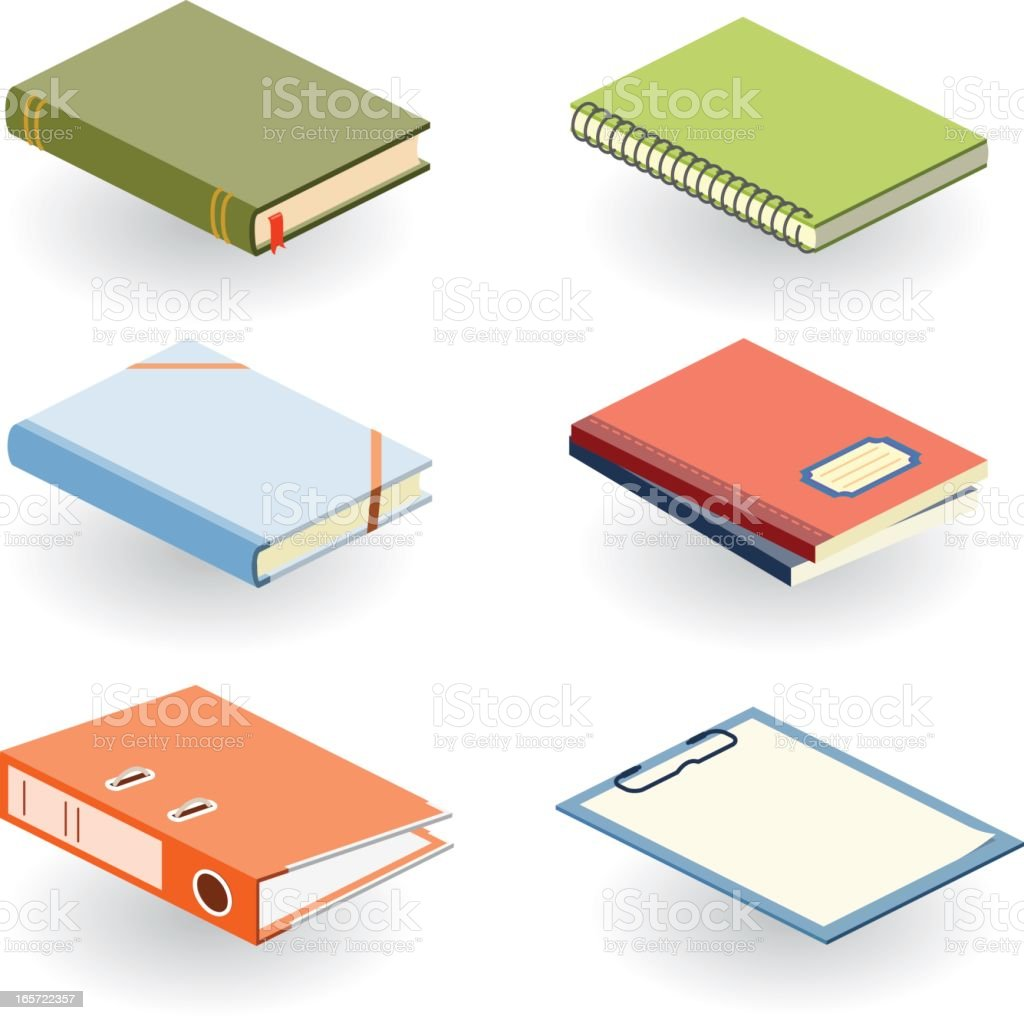 Various books and other office supplies in different colors vector art illustration