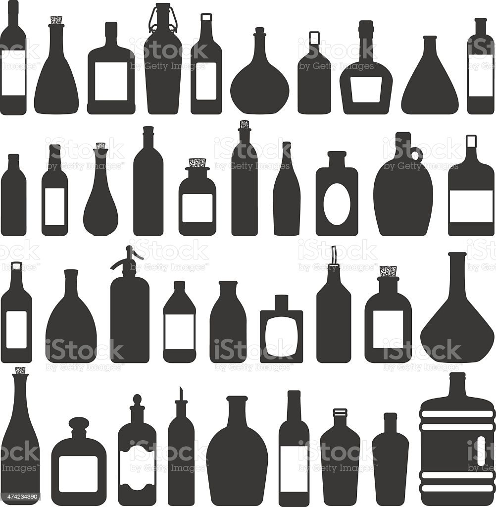 Various bottles vector silhouette icons set vector art illustration