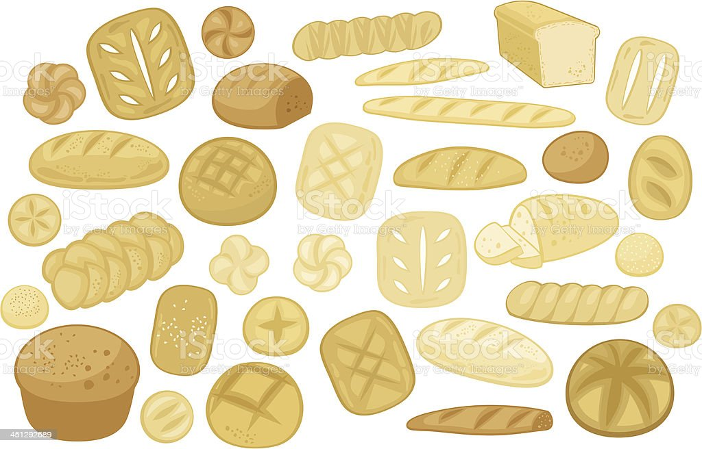 Various Breads Set royalty-free stock vector art
