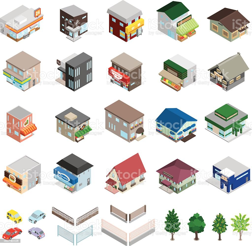 Various building and home figured icons vector art illustration