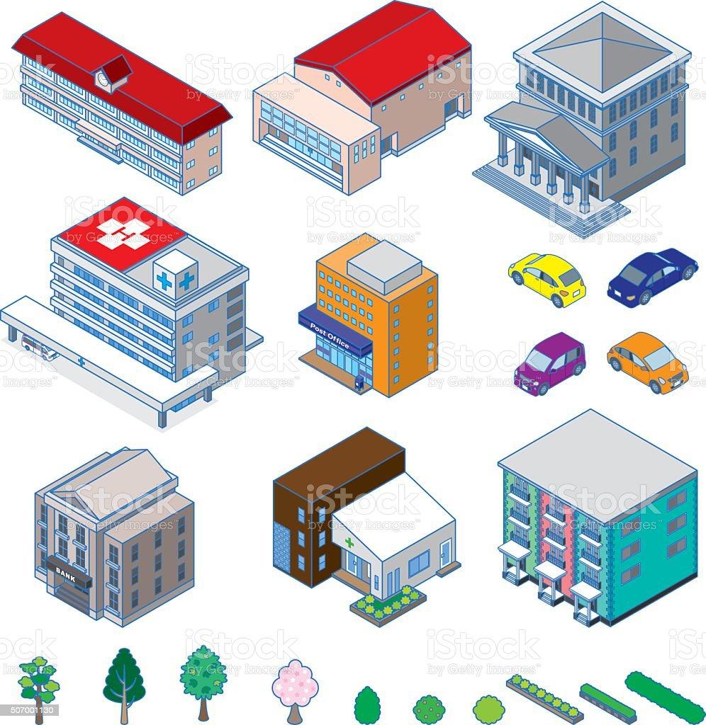 Various building / Solid figure vector art illustration