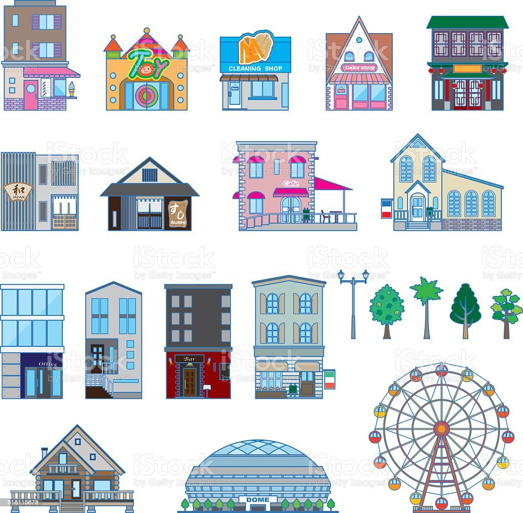 Various building / Solid figure vector art illustration