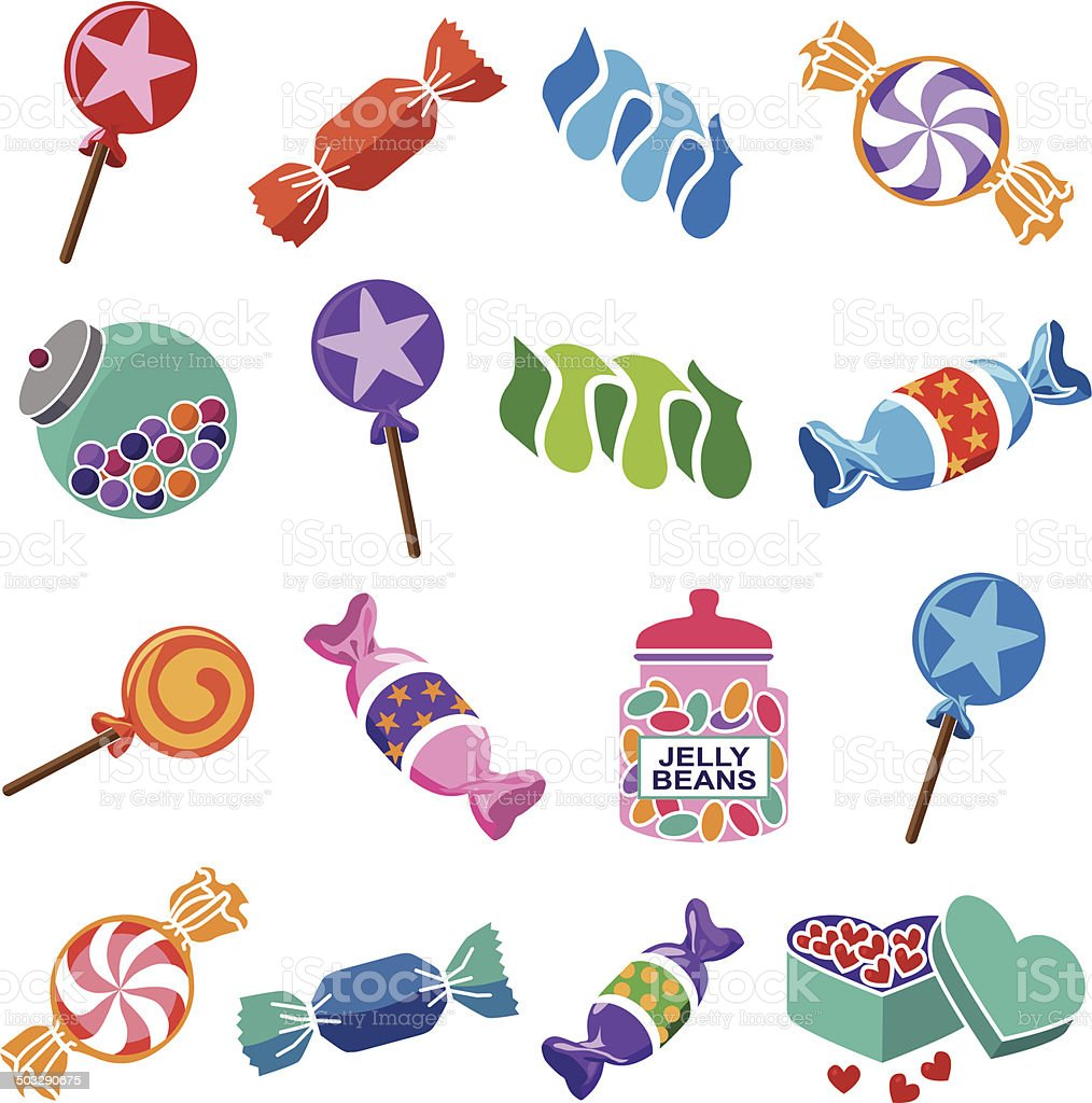 various candies vector art illustration