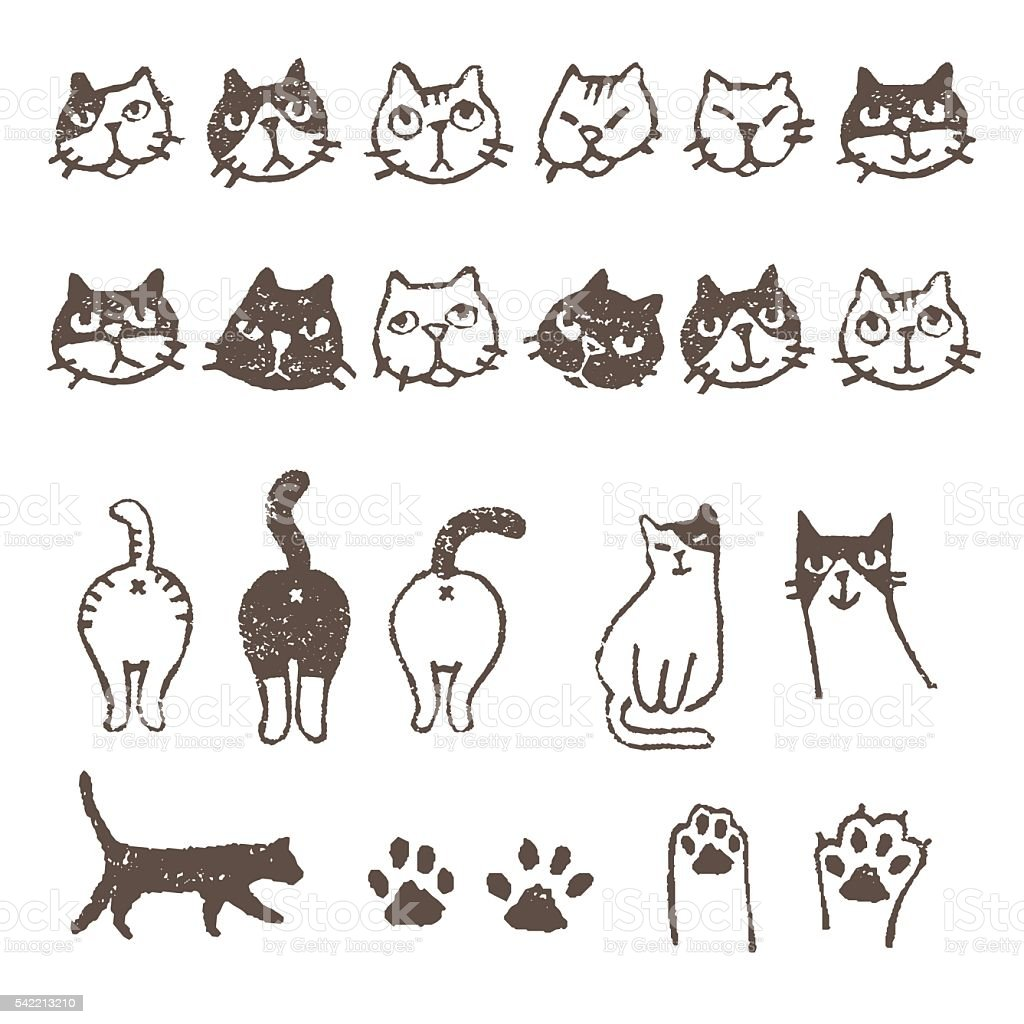 Various cat's, face, paw, and footprint vector art illustration