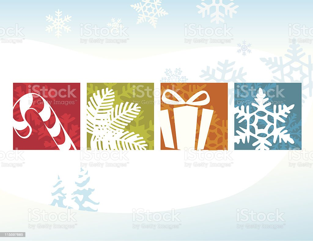 Various Christmas icons with snowflakes background vector art illustration