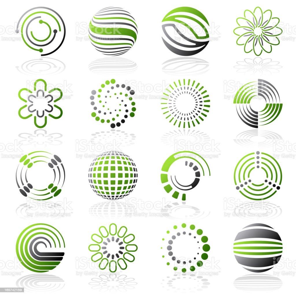 Various circular designs with green tints and hues  royalty-free stock vector art