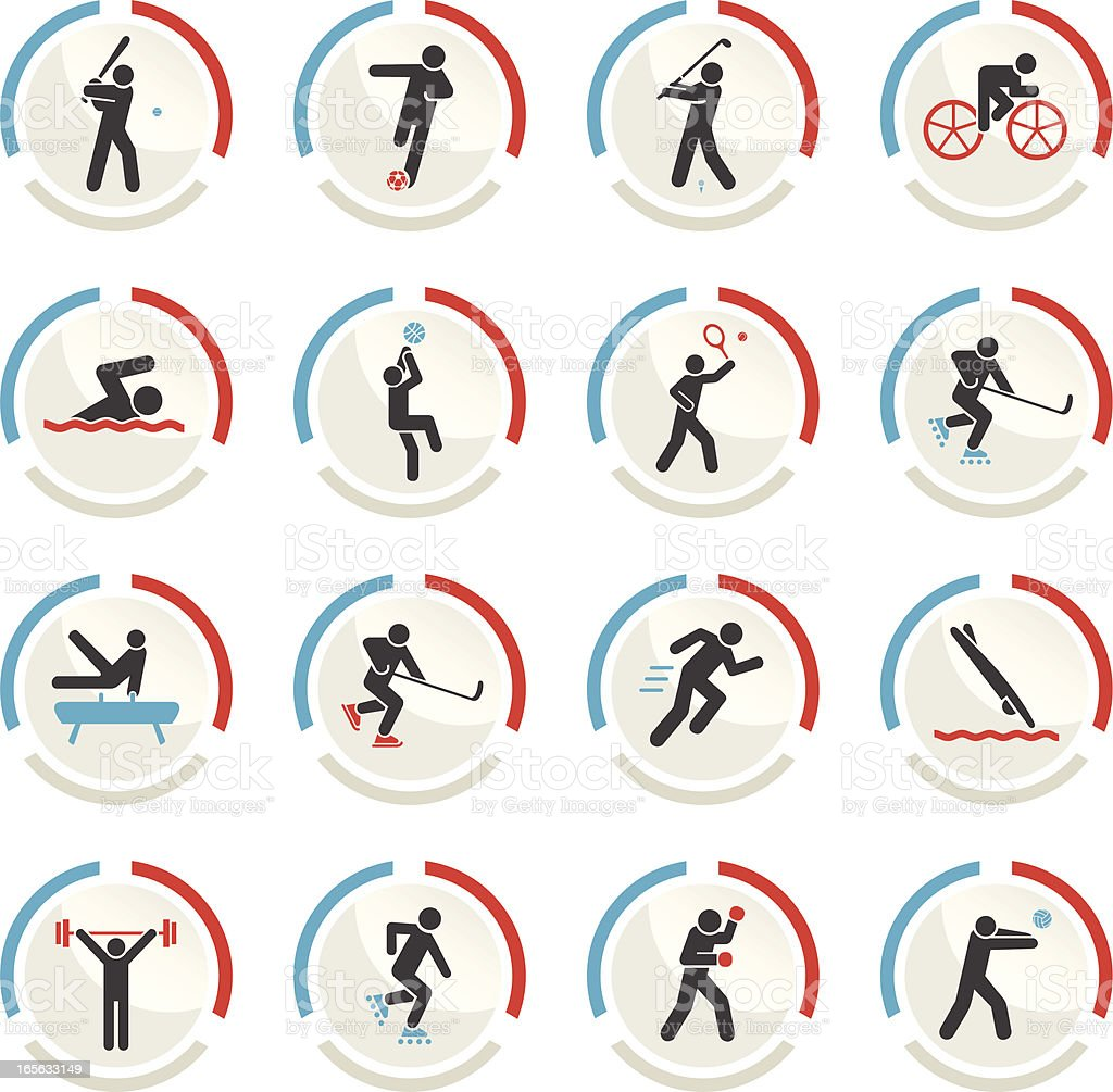 Various circular sports icons in grey, blue and red  royalty-free stock vector art