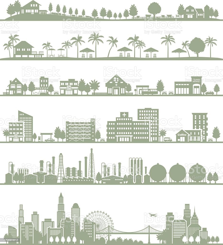 Various city vector art illustration