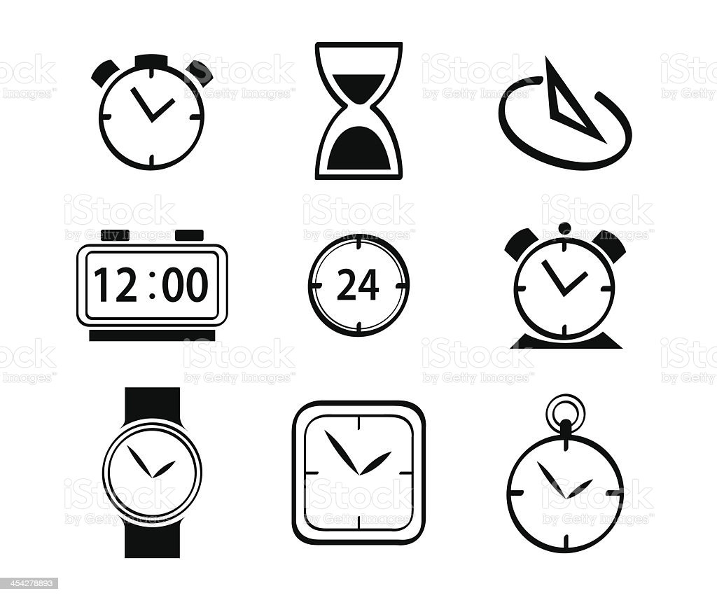 Various Clock Set Icon royalty-free stock vector art