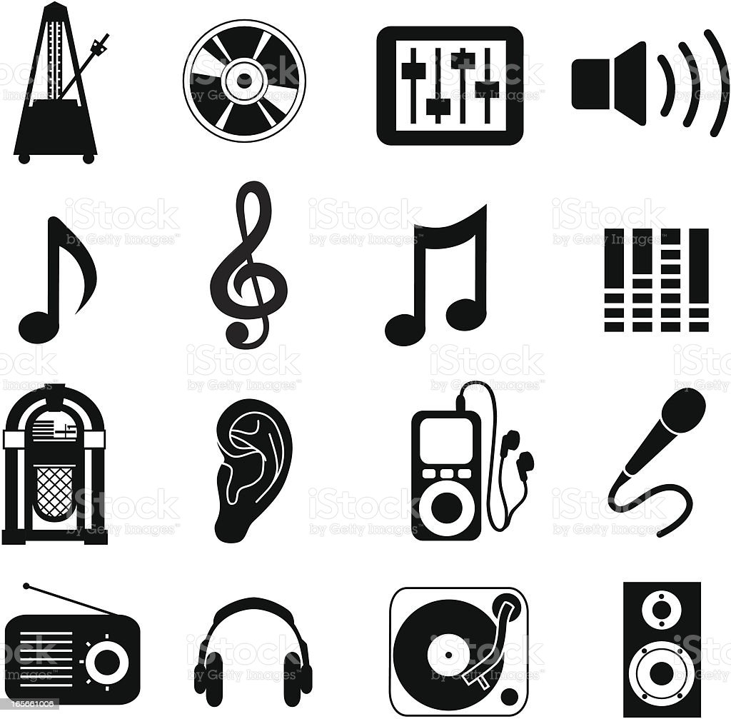 Various collection of music themed icons royalty-free stock vector art