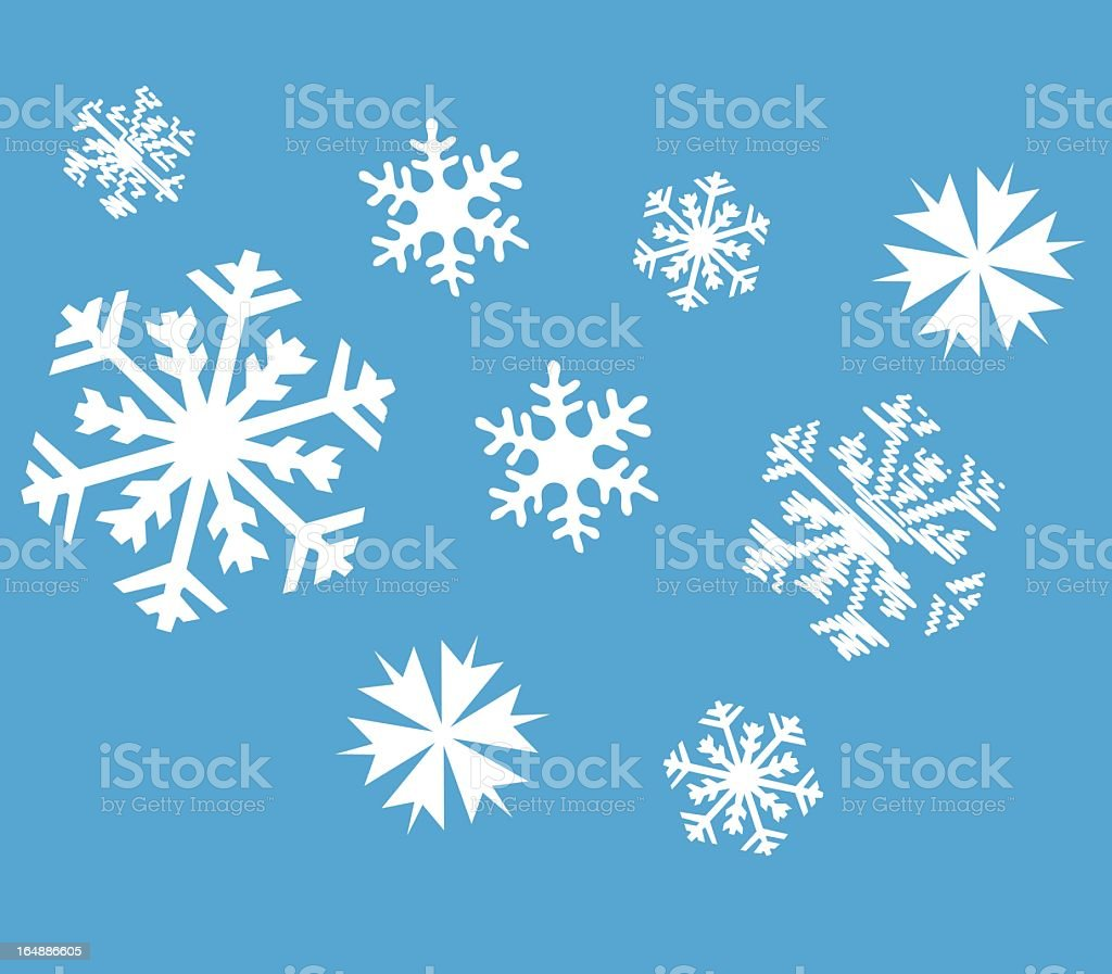 Various collection of snowflakes on blue background royalty-free stock vector art