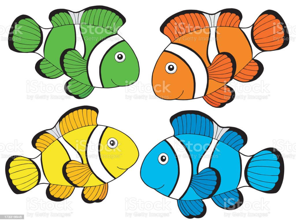 Various color clownfishes 1 vector art illustration