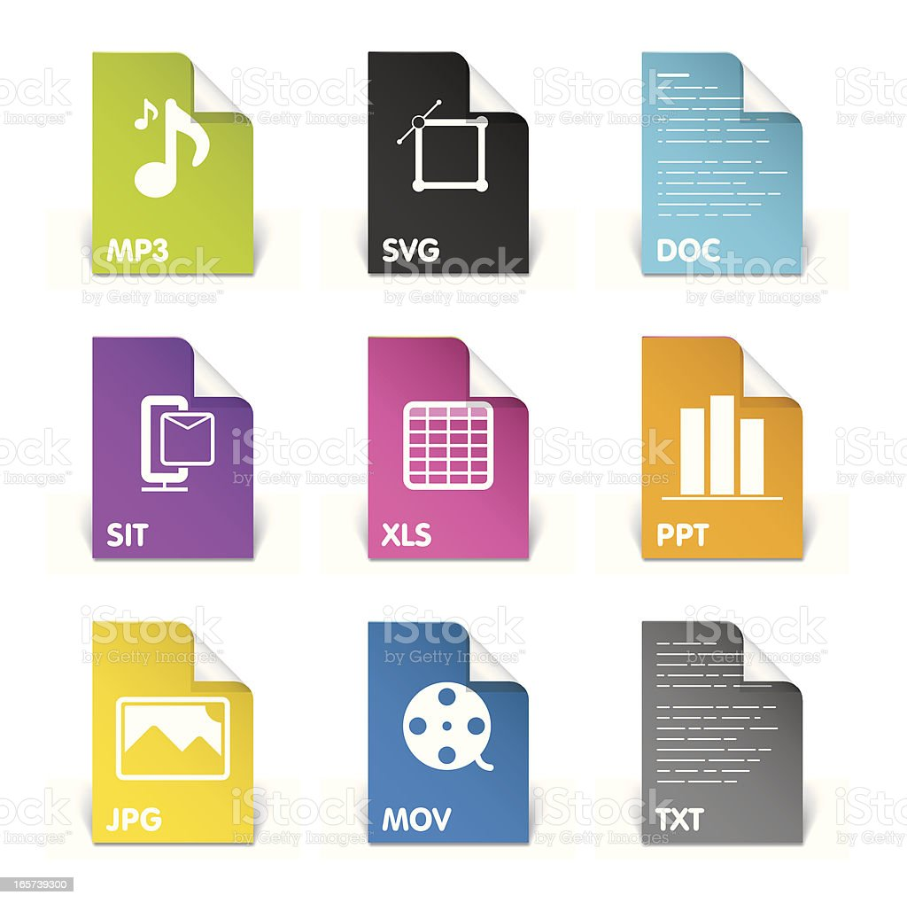 Various colored file extensions vector art illustration