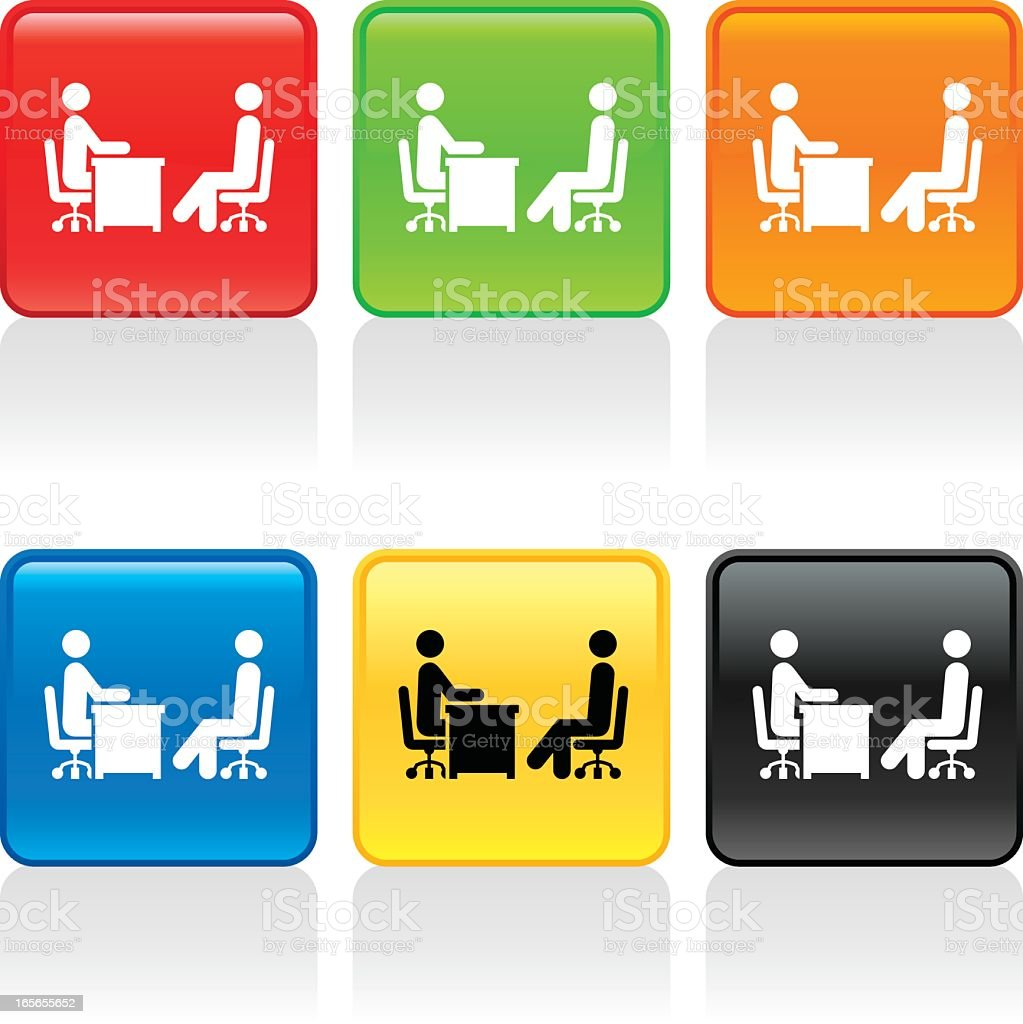 Various colored icons of people being interviewed royalty-free stock vector art