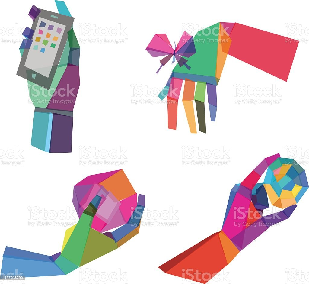 Various colored polygonal hands royalty-free stock vector art