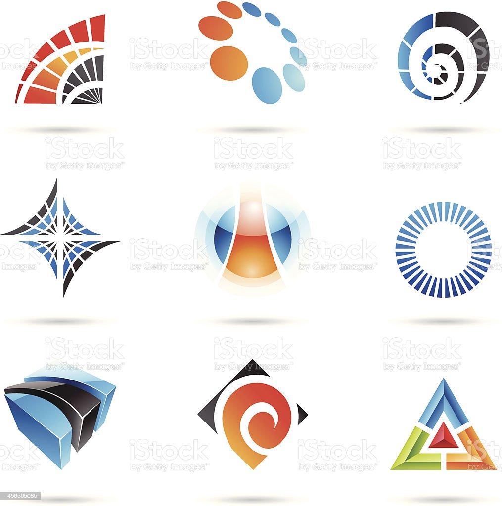 Différentes icônes abstraites colorées stock vecteur libres de droits libre de droits