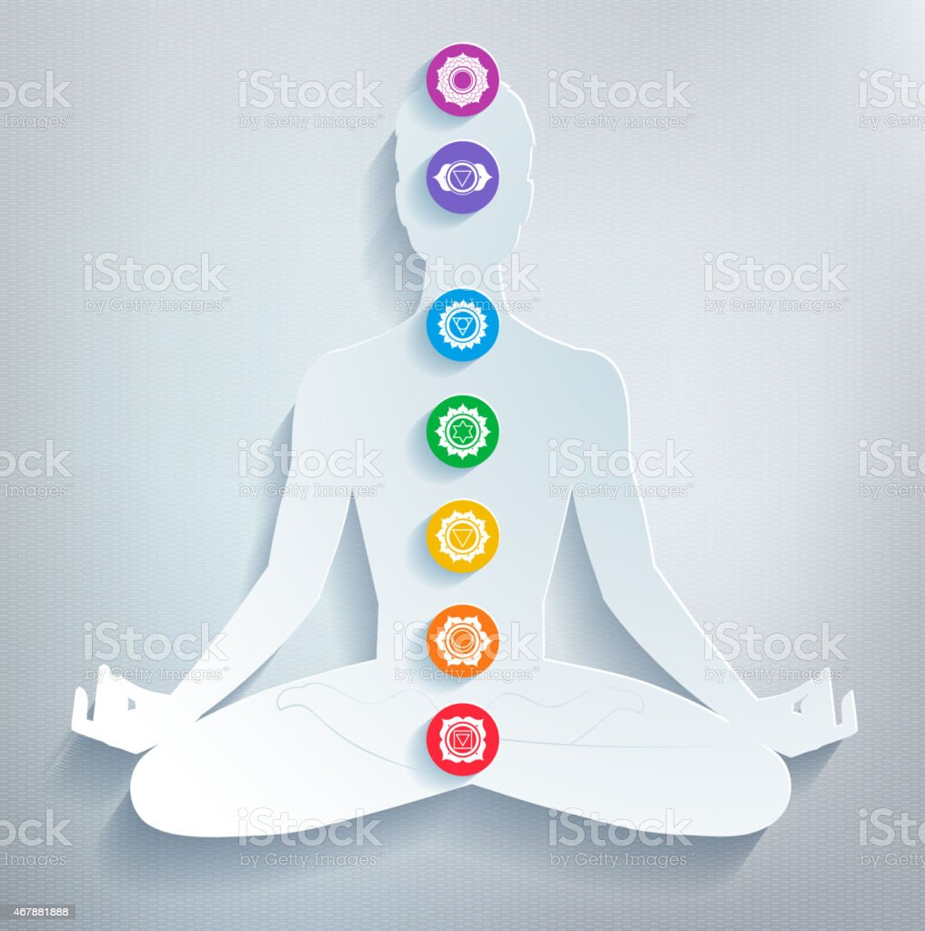 Various colorful elements related to meditation and chakras vector art illustration