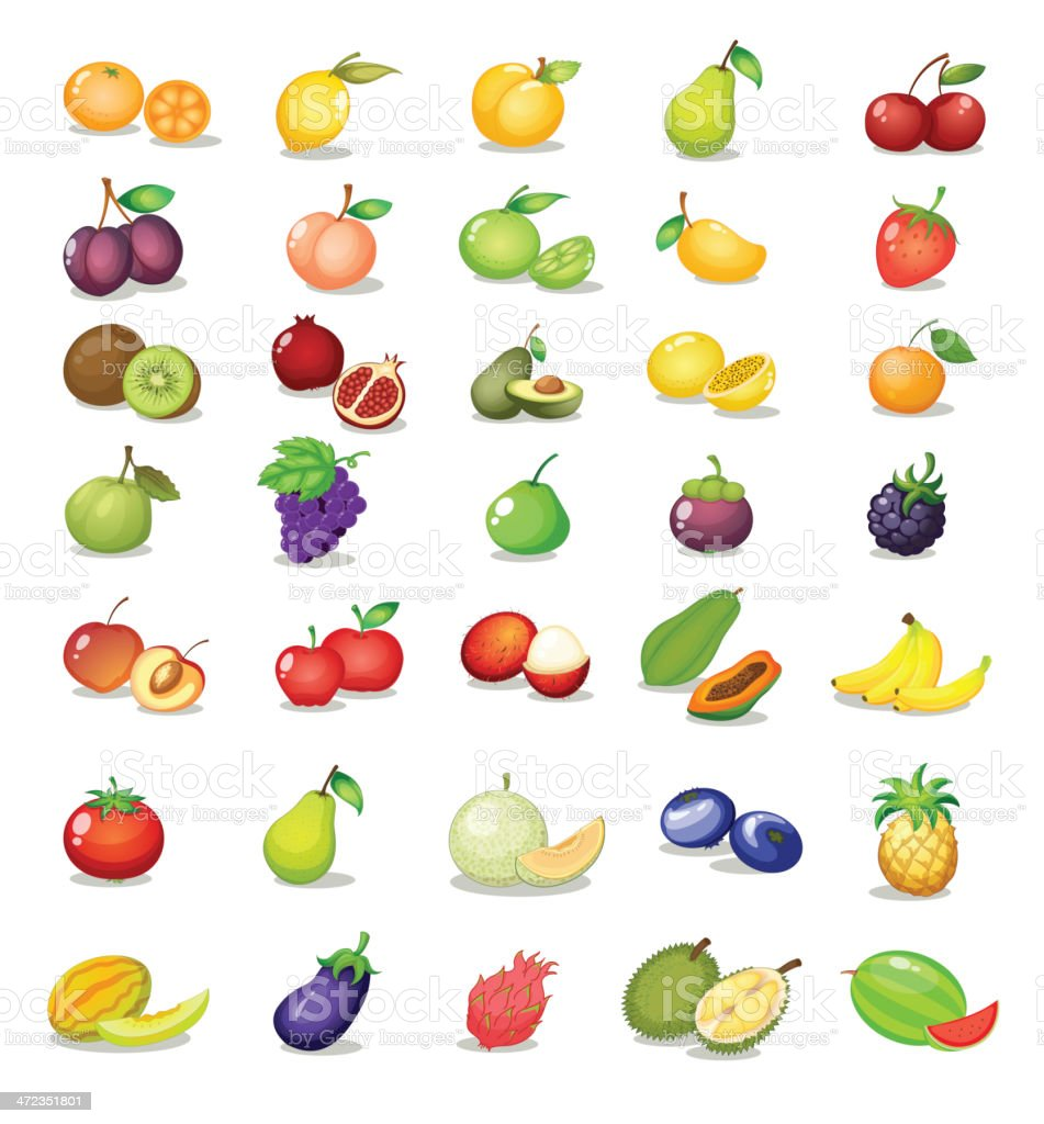 Various colorful fruit icons on white vector art illustration