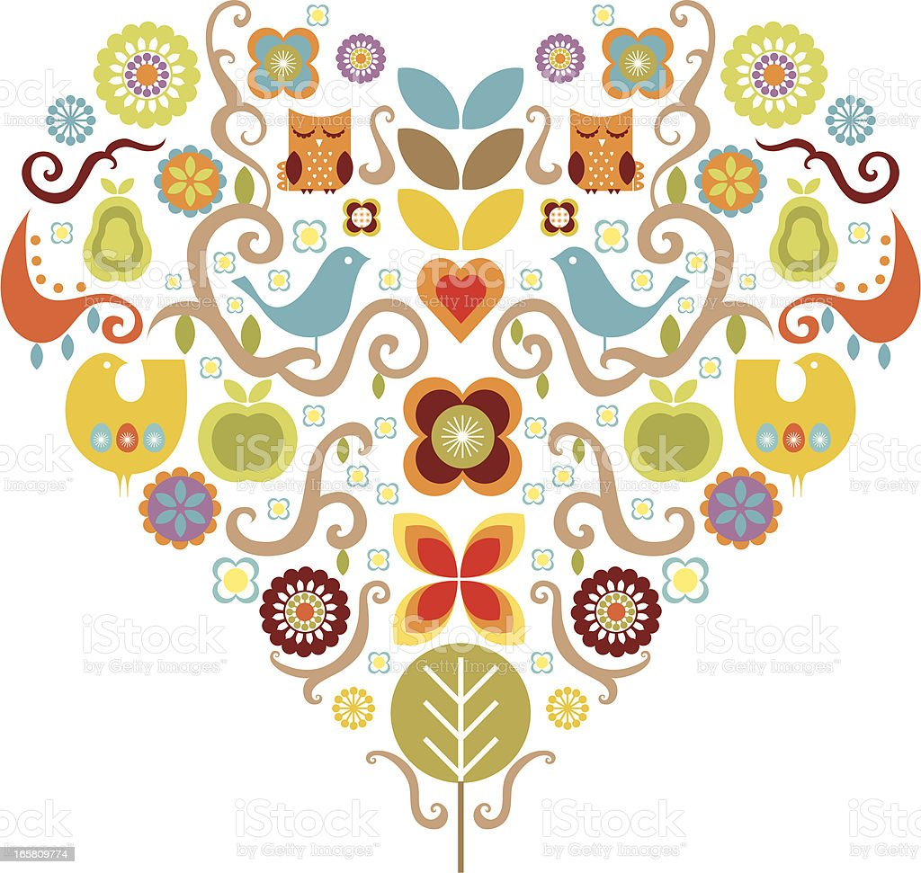 Various colorful summer icons arranged in a heart shape royalty-free stock vector art