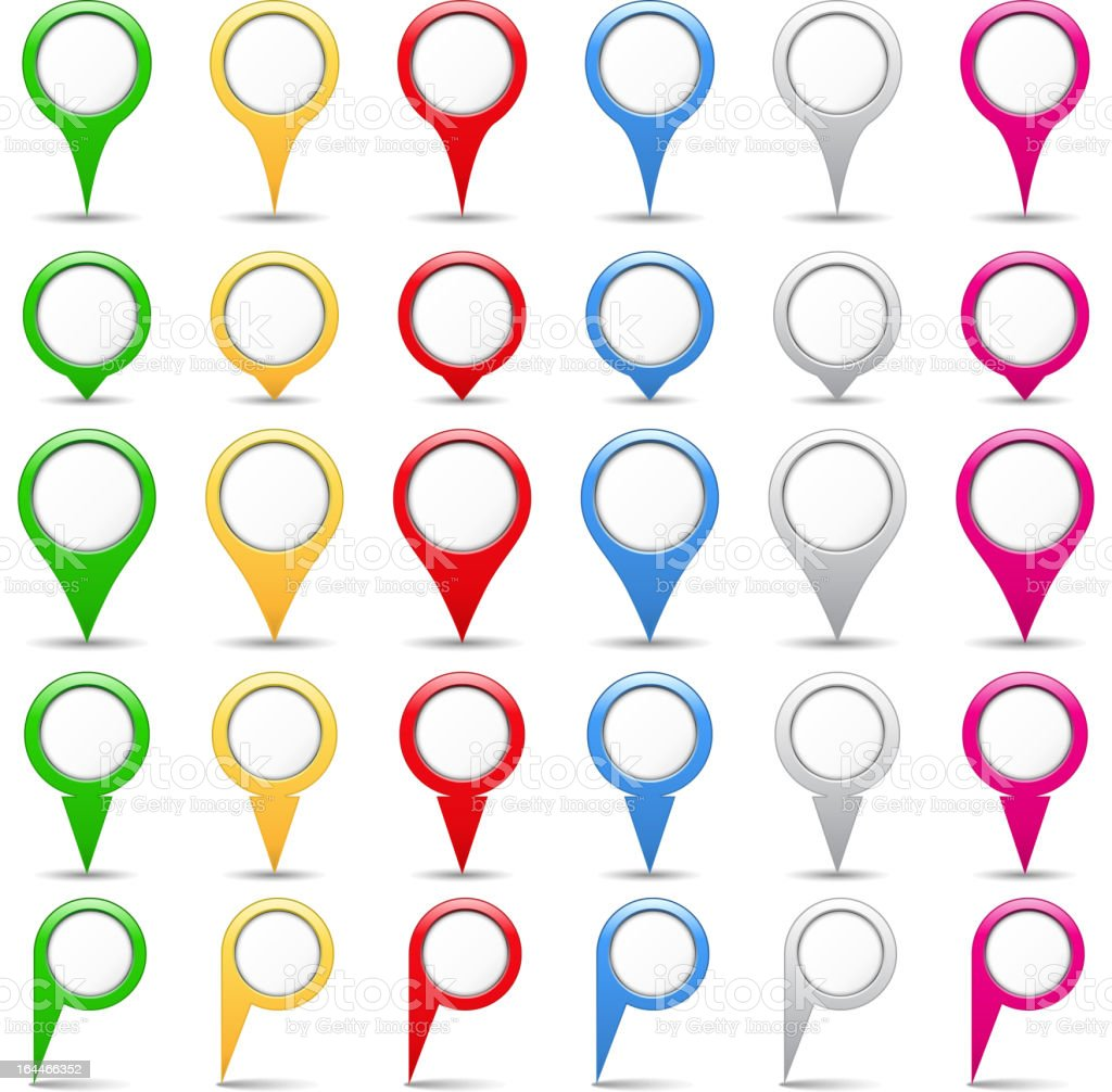 Various colors and shapes of map pins vector art illustration