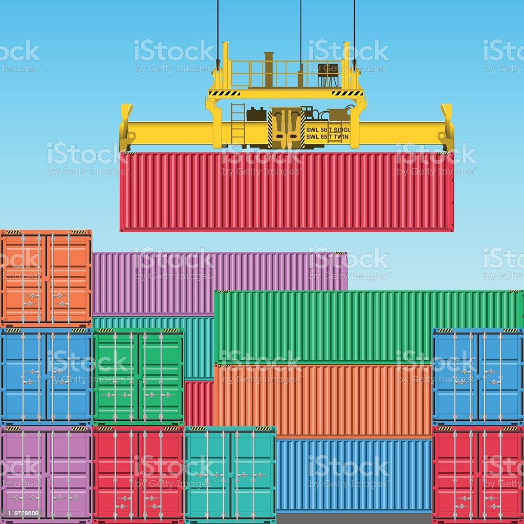 Various colors of freight containers vector art illustration