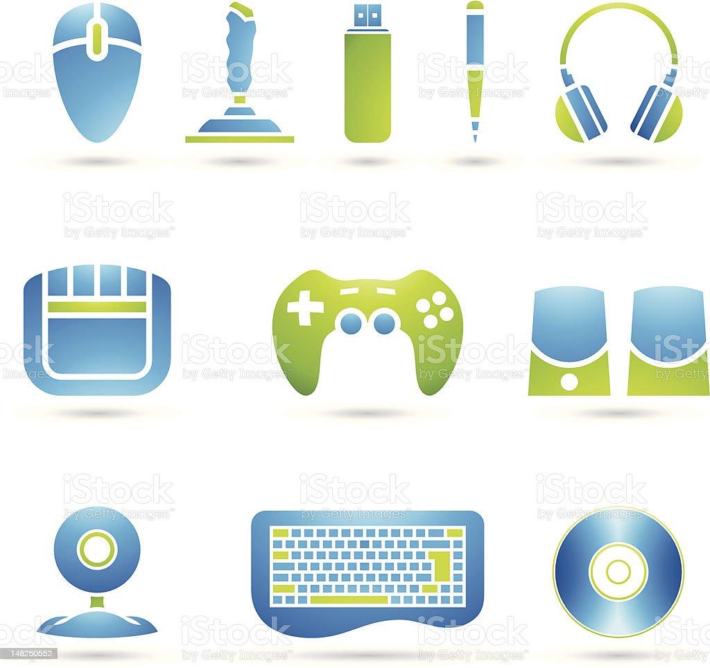 Divers accessoires ordinateur stock vecteur libres de droits libre de droits