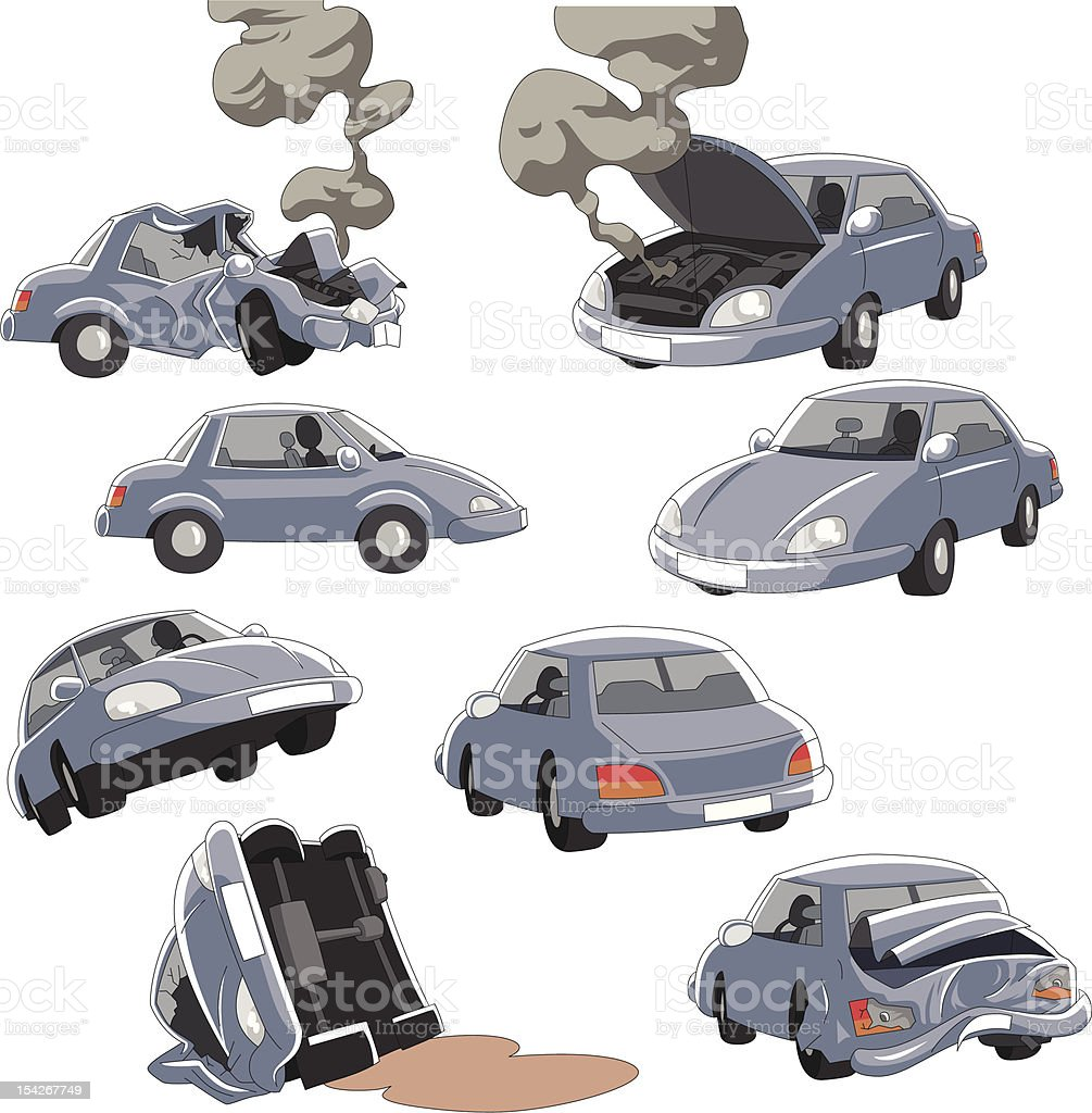 Various conditions of a car vector art illustration