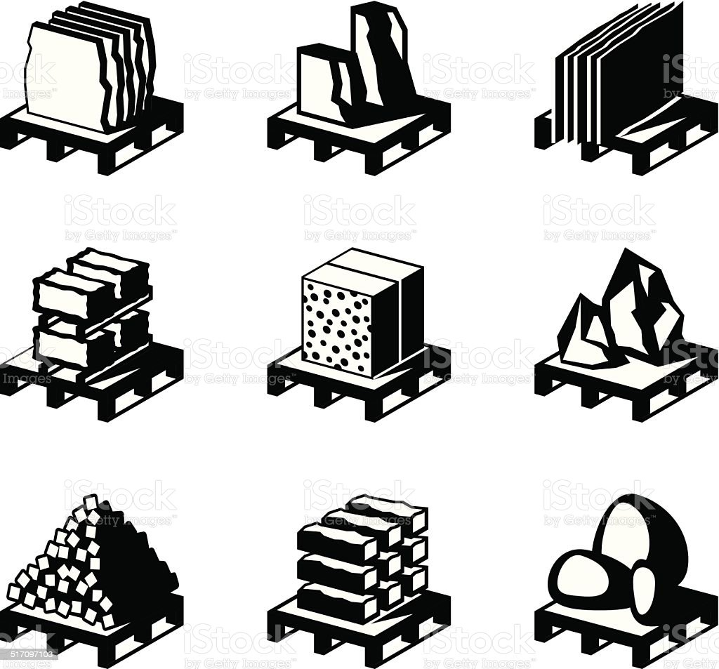 Various construction and building materials vector art illustration