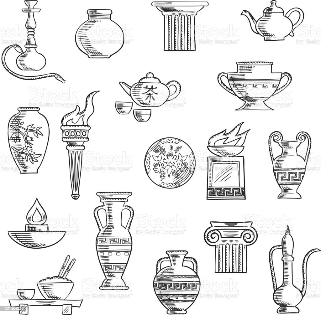 Various containers and kitchenware sketches vector art illustration