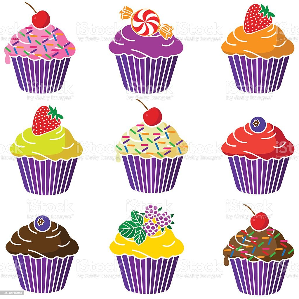 various cupcakes vector art illustration