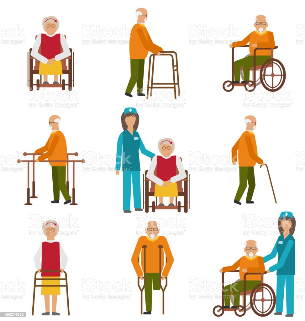 Various Degrees of Injuries and Disabilities vector art illustration