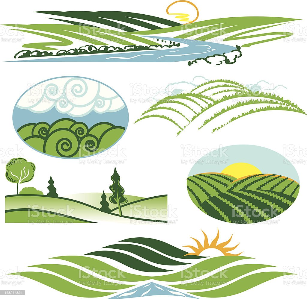 Various depictions of rolling green hills vector art illustration