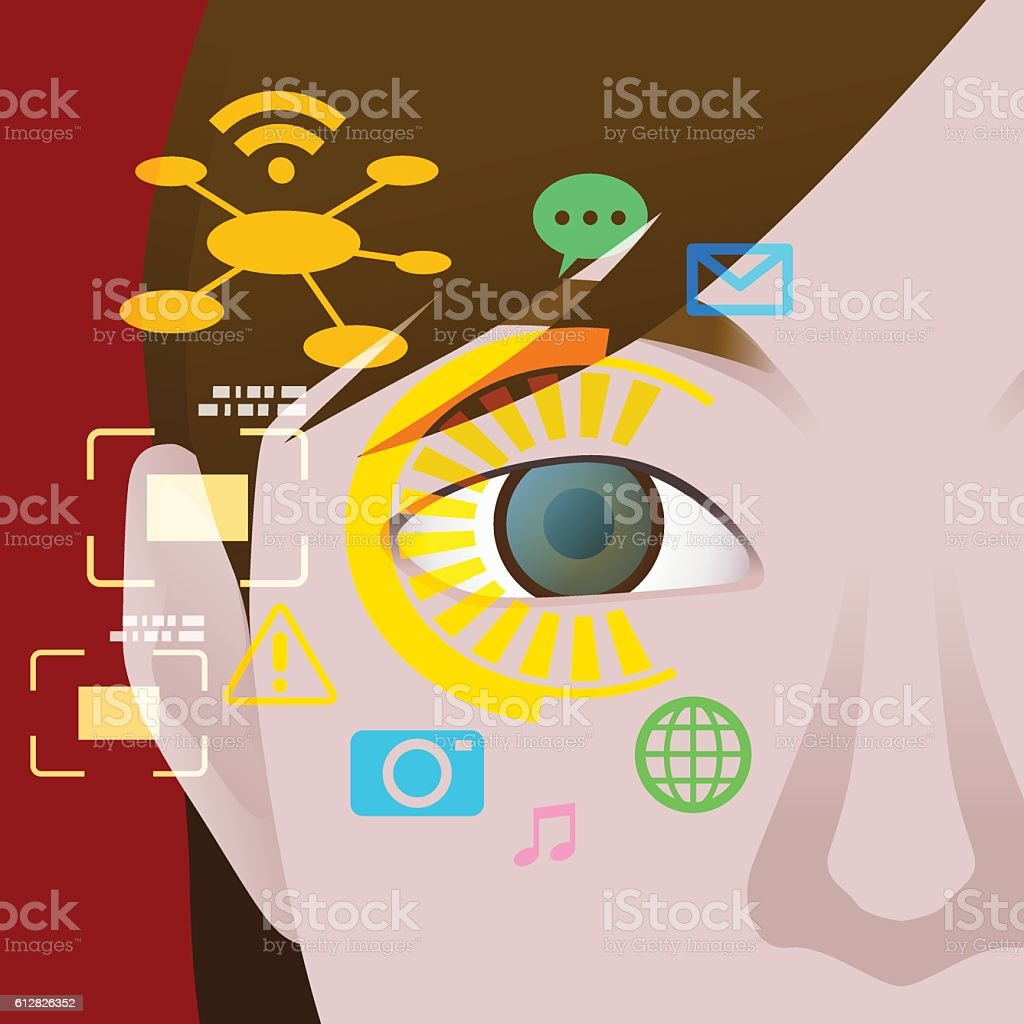 various display on contact lens, image illustration, vector vector art illustration