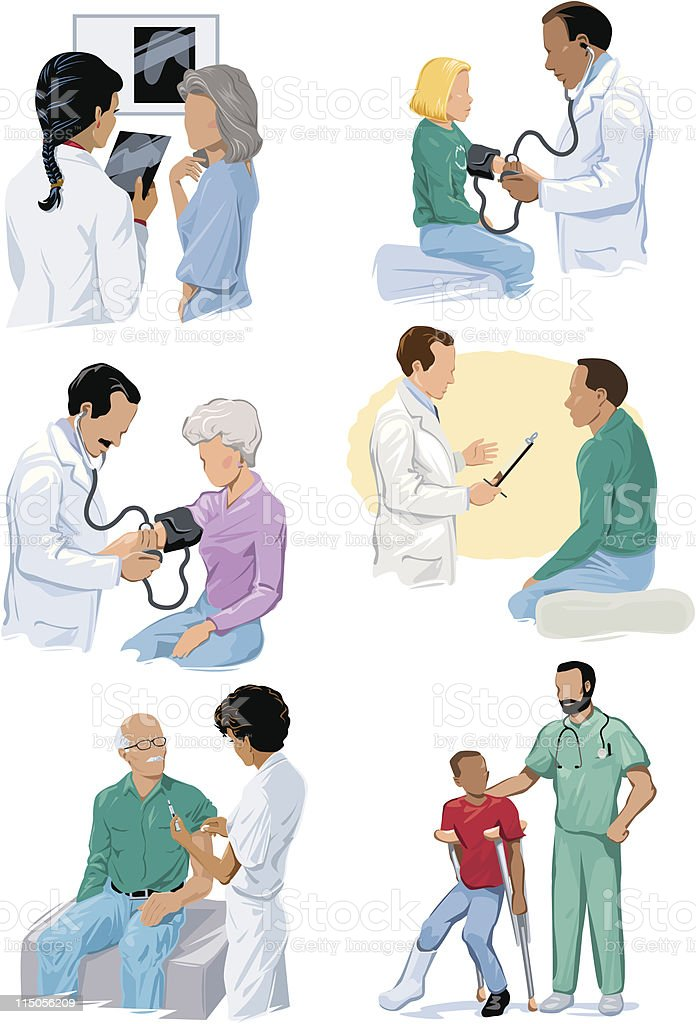 Various Doctor Visit Scenes with Different People royalty-free stock vector art