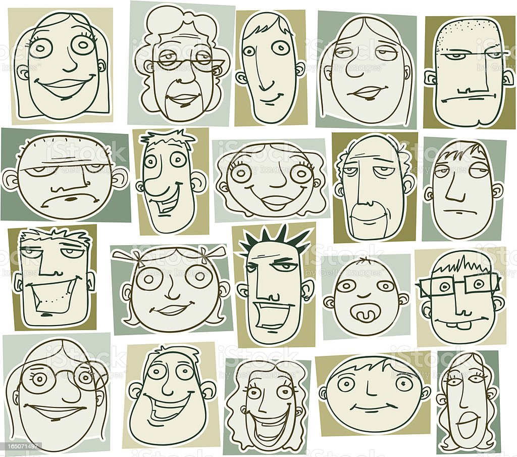 Various Doodle Drawings of People's Heads royalty-free stock vector art