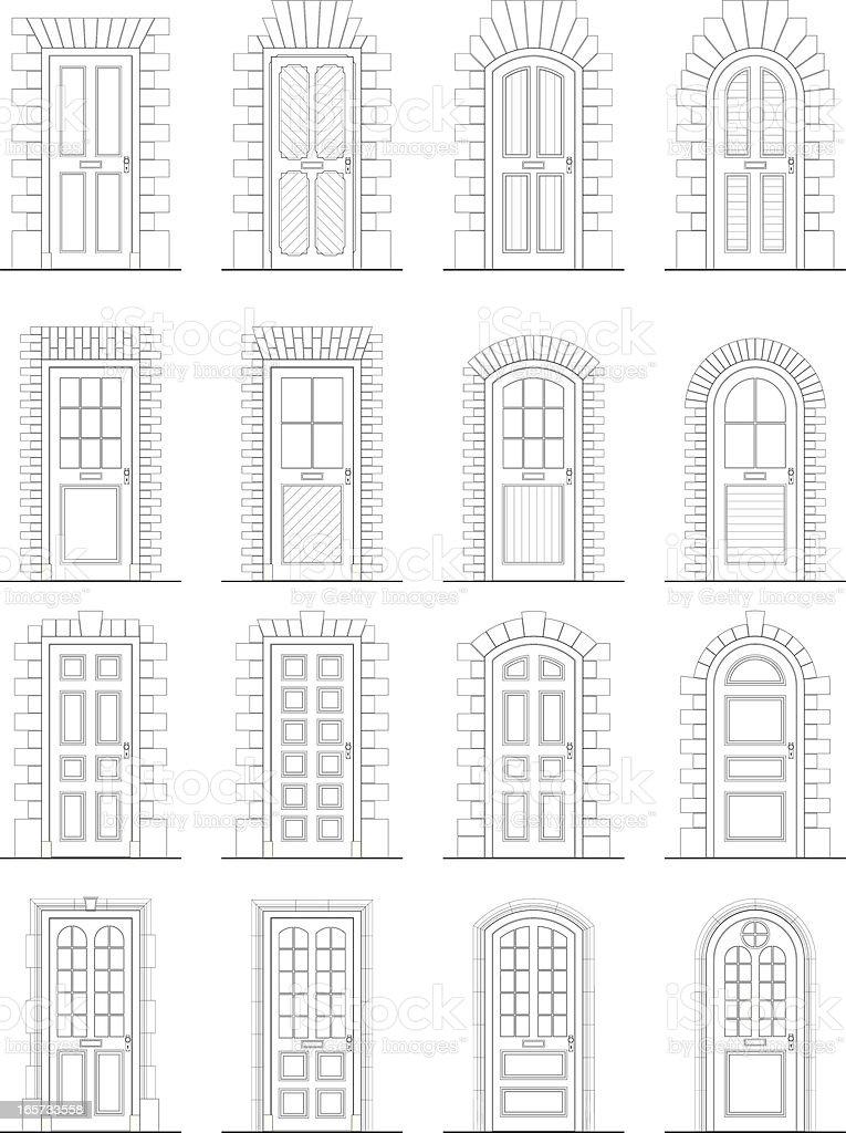 Various Doors & Surrounds vector art illustration