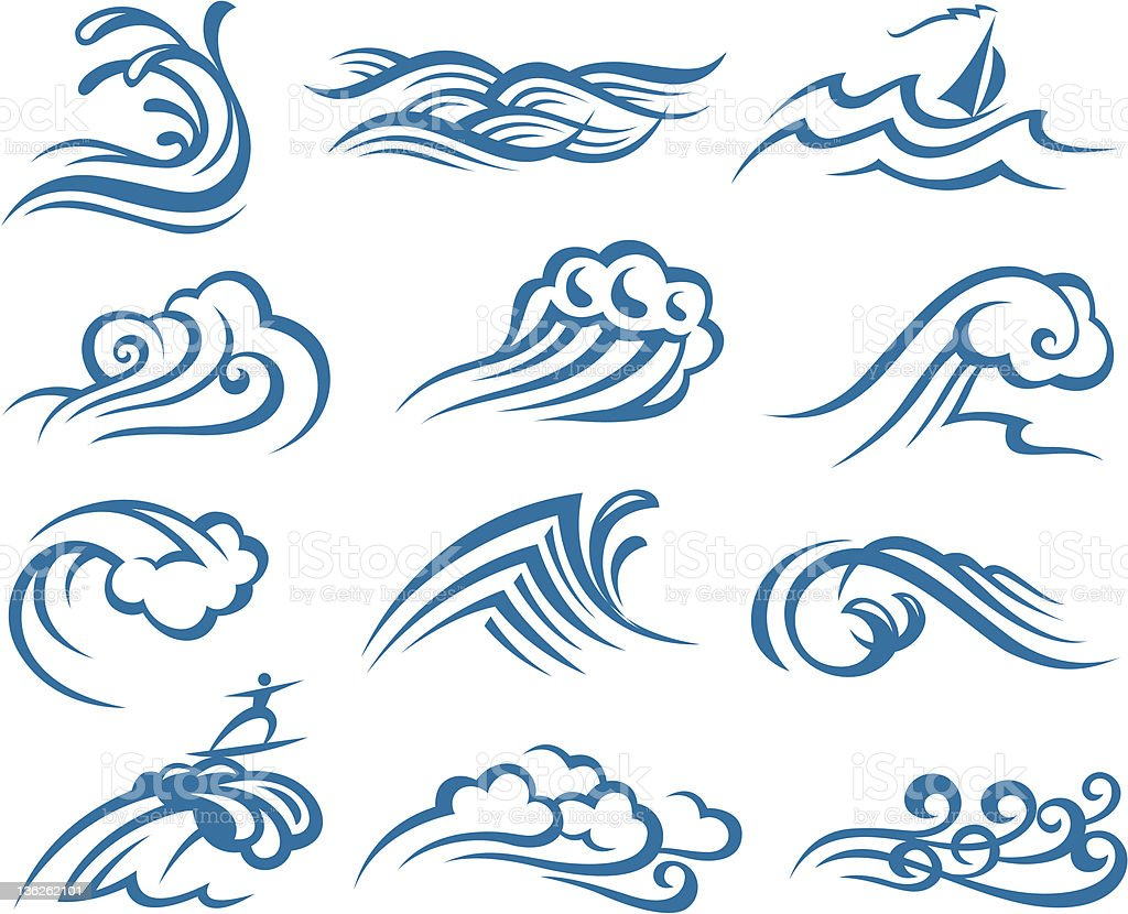 Various drawings of blue ocean waves on a white background  royalty-free stock vector art