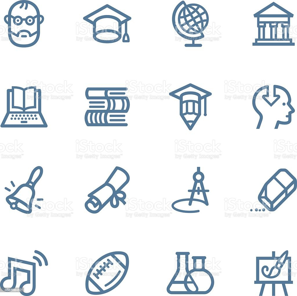 Various drawn education icons on white background vector art illustration