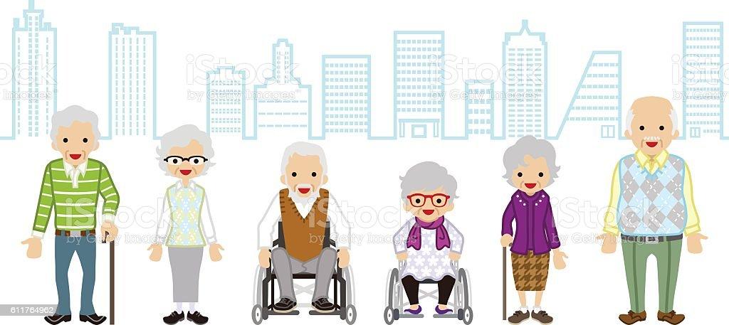 Various Elderly people - Cityscape background vector art illustration