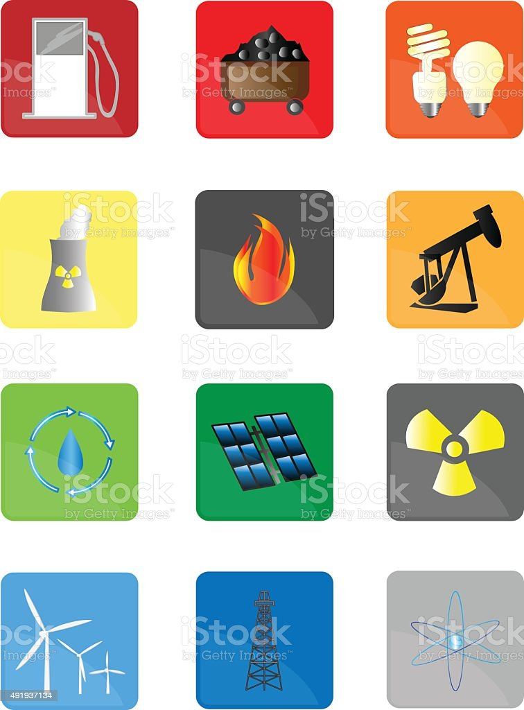 Various Energy Power Icons vector art illustration