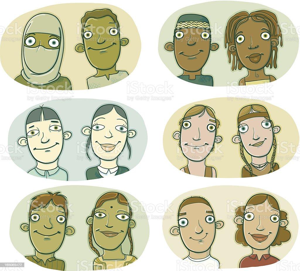 Various Ethnicities of Smiling Children royalty-free stock vector art