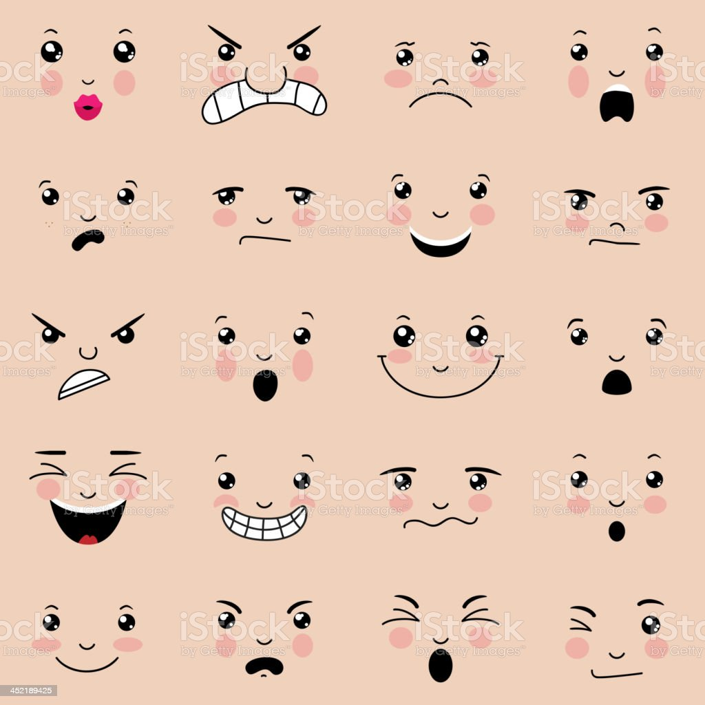 Various facial expressions with pink cheeks  vector art illustration