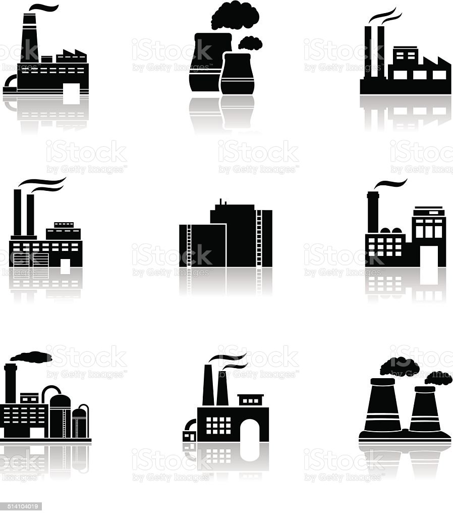 Various factory icons vector art illustration