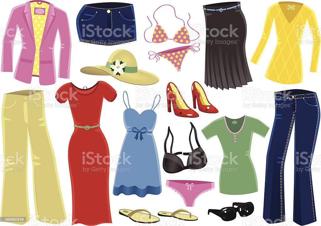 Various female clothing items vector art illustration