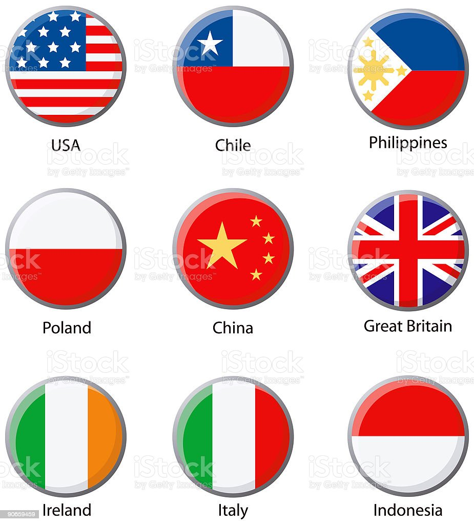 Various Flags vector icons royalty-free stock vector art