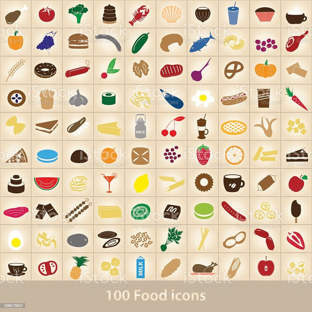 100 various food and drink color icons set eps10 vector art illustration
