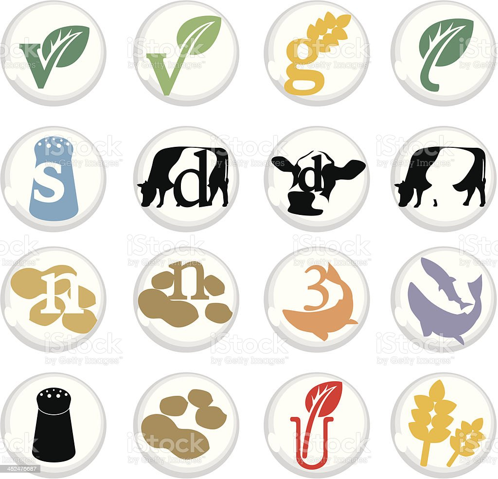 Various food icons on white background royalty-free stock vector art