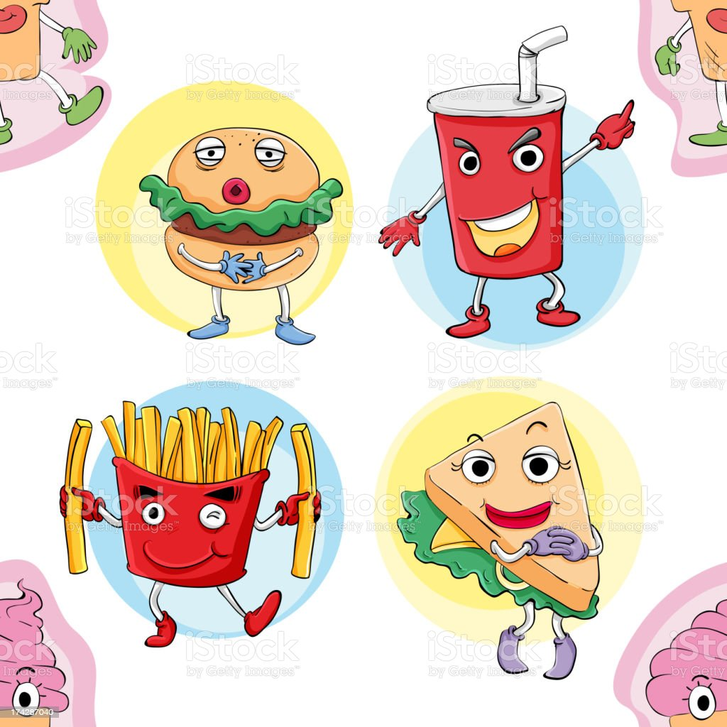 various food vector art illustration