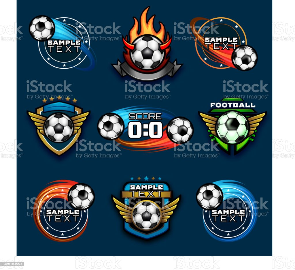 Various football emblems vector art illustration